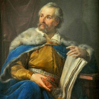 Jan Zamoyski, który osłaniał marsz wojsk królewskich, na portrecie pędzla Marcello Bacciarelliego z lat 80. XVIII wieku.