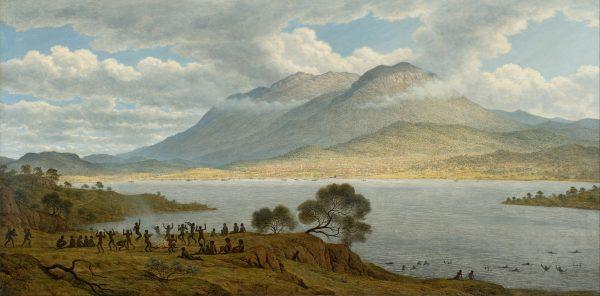 """Skazańcy i biali osadnicy wypierali stopniowo z Tasmanii (nazywanej """"Ziemią van Diemena"""") miejscową ludność. Na grafice Johna Glovera z 1834 roku widać jeszcze świat, który już wkrótce miał zostać zniszczony."""