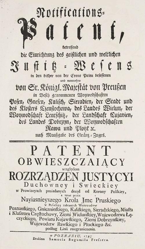 Obwieszczenie pruskie o przeprowadzeniu II rozbioru Polski