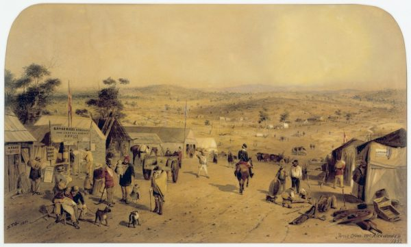 Osada Castlemaine w 1852 roku. Obraz Samuela Thomasa Gilla