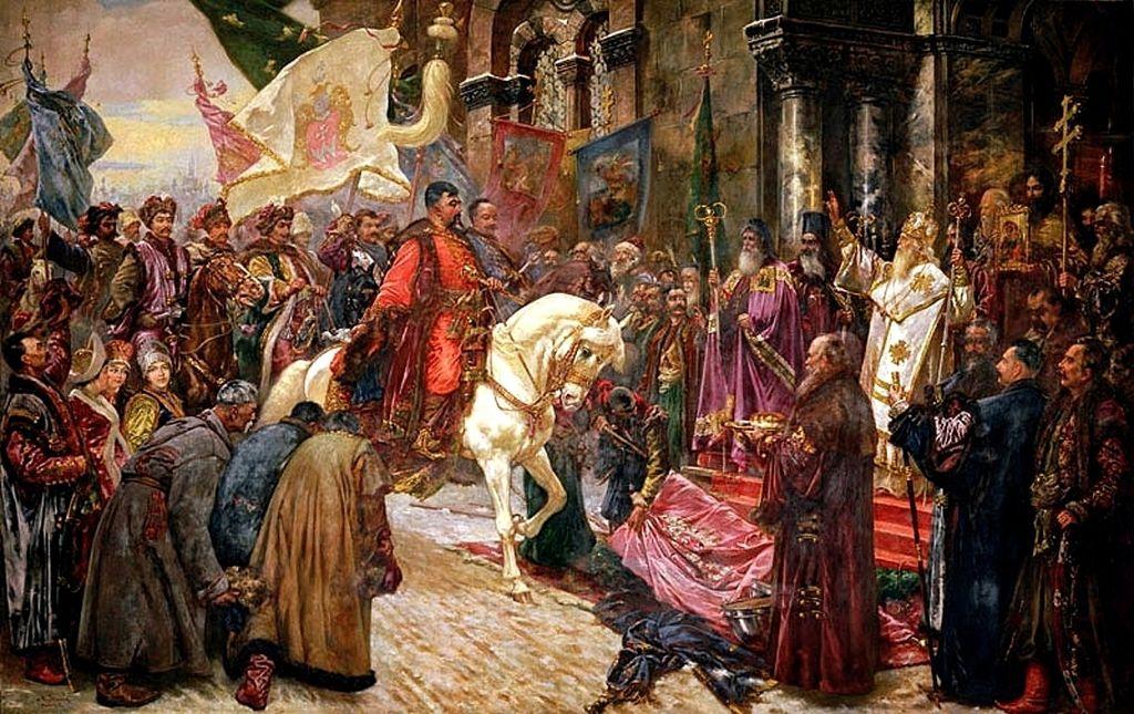Powstania kozackie, takie, jak powstanie Chmielnickiego, przedstawionego na obrazie Mykoli Iwasiuka, polscy historycy określają jako bunty; historycy ukraińscy skłonni są widzieć w nich ruchy narodowo-społeczne słusznie walczące z narzuconą siłą polską władzą.