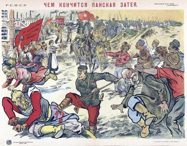 """""""Oto czym kończą się pańskie pomysły"""" - plakat propagandowy z okresu wojny polsko-bolszewickiej."""