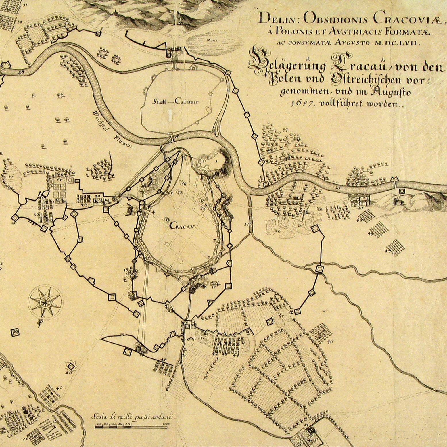 Plan krakowskich umocnień w 1657 roku, autorstwa Izydora Affaita.