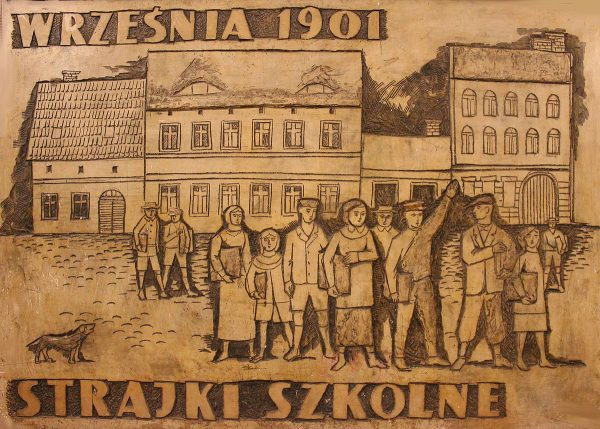 Strajk dzieci wrzesińskich. Płaskorzeźba w Zamku Cesarskim w Poznaniu
