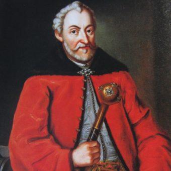 Jan Zamoyski, dowodzący oblężeniem Wolmaru, na portrecie z epoki.