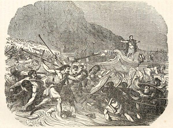 Cezar ląduje w Brytanii (fot. domena publiczna).