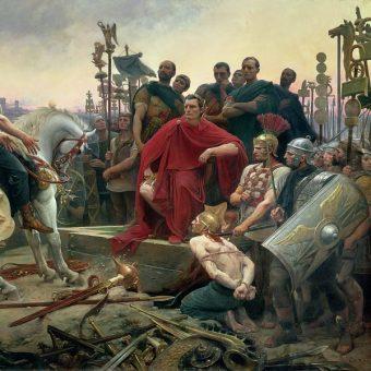 Kapitulacja Wercyngetoryksa przed Cezarem pod Alezją (52 p.n.e.) na obrazie Lionel-Noël Royera z 1899