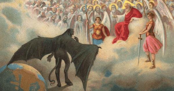 Ilustracja od prologu Fausta, który rozgrywa się w niebie, gdzie Bóg i Mefistofeles rozmawiają o Fauście. (fot. domena publiczna)