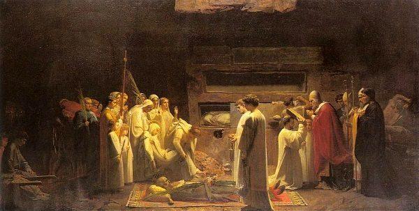 Chrześcijanie żegnający męczennika (fot. domena publiczna).