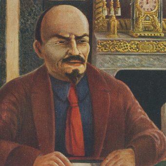 Lenin na pocztówce z 1930 roku autorstwa Karla Grönhagena.