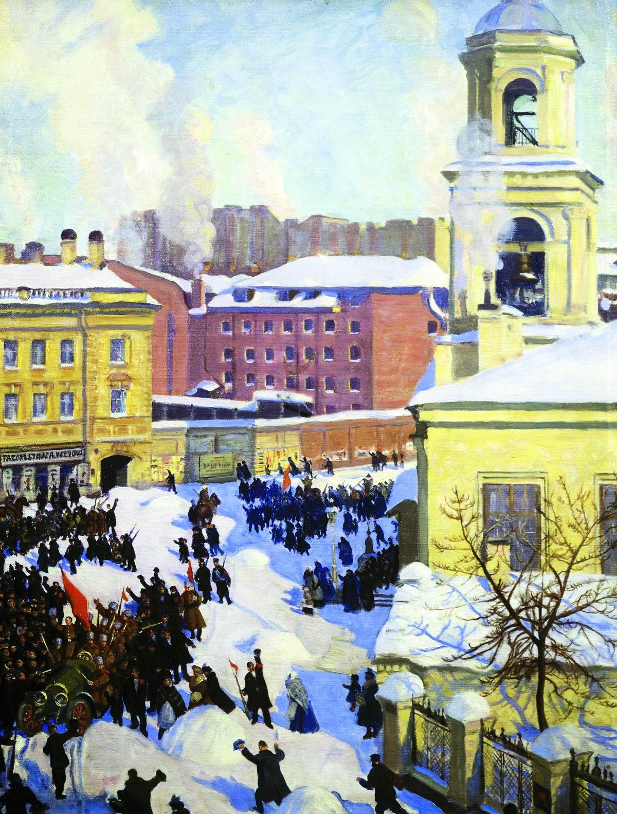 Rewolucja lutowa traktowana była przez bolszewików jako burżuazyjna, wprowadzająca kapitalizm. Obraz Borysa Kustodiewa.