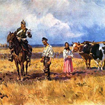 "Obraz Wojciecha Kossaka z 1909 roku pt. ""Rugi pruskie""."