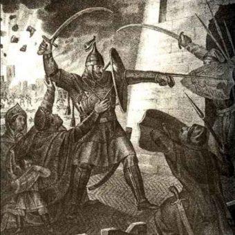 Obrona Smoleńska przed Polakami na rosyjskiej ilustracji z 1866 roku.