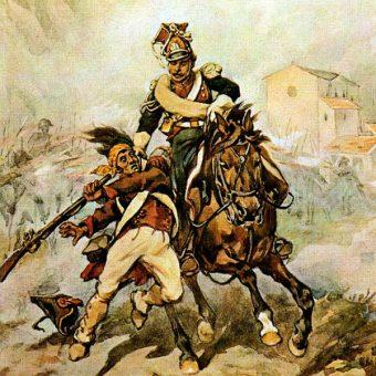 Szwoleżer w letnim mundurze polowym na obrazie Juliusza Kossaka (fot. domena publiczna).