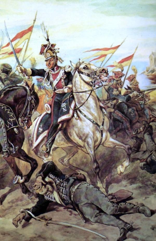 Szwoleżerowie w bitwie, uwiecznieni przez Juliusza Kossaka. (fot. domena publiczna).