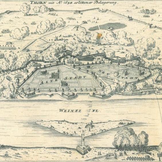 Plan oblężenia Torunia w 1658 roku, sporządzony zapewne przez G. Bodenehra.
