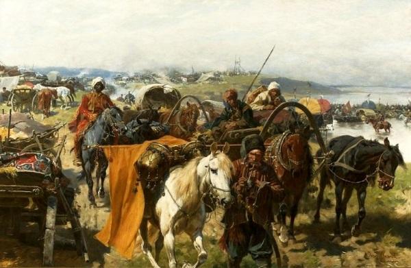 Obóz Zaporożców, obraz Józefa Brandta (fot. domena publiczna)