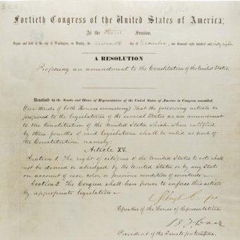 15. poprawka formalnie weszła w życie już w 1870 roku, ale walka o jej rzeczywiste przestrzeganie trwała jeszcze prawie sto lat.