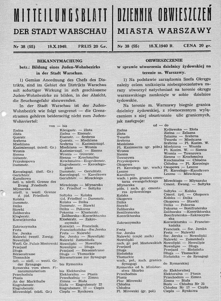 """Obwieszczenie w sprawie utworzenia """"dzielnicy żydowskiej"""" w Warszawie ukazało się 18 października 1940 roku."""