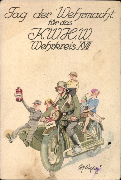 Pocztówka pamiątkowa z okazji Dnia Wehrmahtu dla żołnierzy Wehrkreis XVII