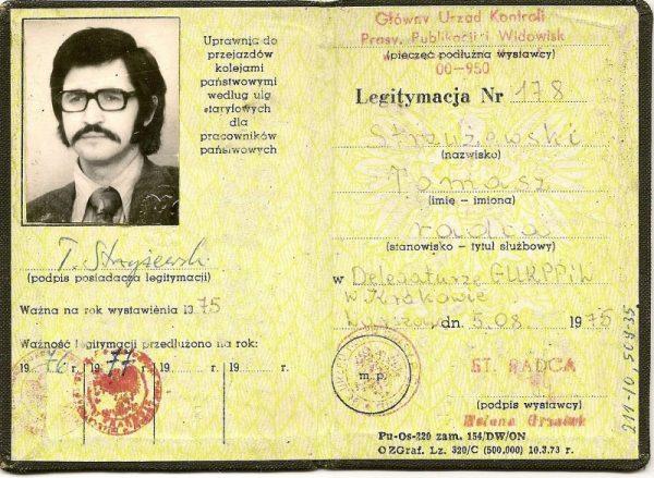 Służbowa legitymacja urzędu zajmującego się cenzurą (fot. domena publiczna)