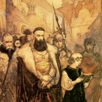 Tak Samuela Zborowskiego prowadzonego na śmierć wyobrażał sobie Jan Matejko (fot. domena publiczna)