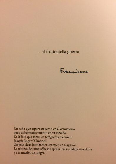Tekst umieszczony na odwrocie kartki rozsyłanej przez papieża Franciszka