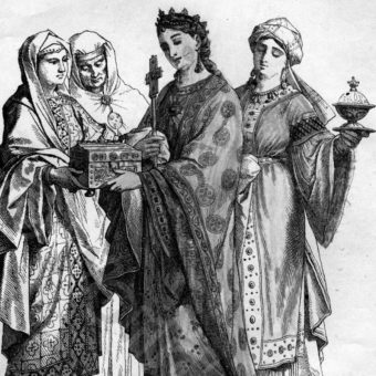 Władczyni i damy dworu. Moda wczesnego średniowiecza na XIX-wiecznej ilustracji