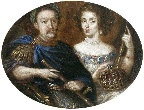Jan III Sobieski z wieńcem niczym rzymski cesarz i Marysieńką u boku (fot. domena publiczna)