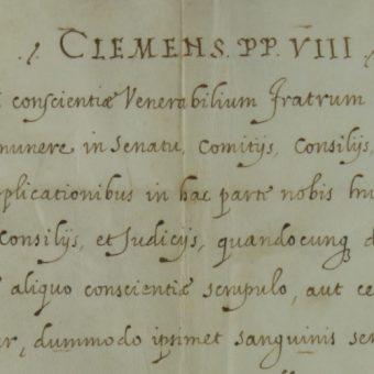 Fragment kopii papieskiego breve udostępnionej przez Wielkopolską Bibliotekę Cyfrową.