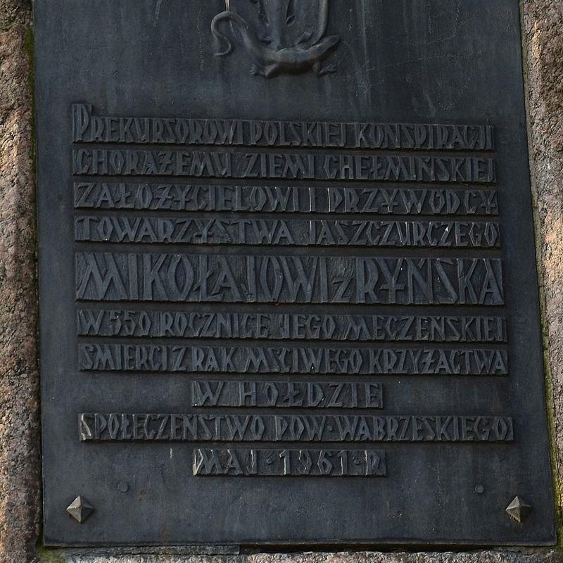 Mikołaj z Ryńska, jeden z założycieli Związku Jaszczurczego, został skazany na śmierć i ścięty za sprzyjanie Polsce.