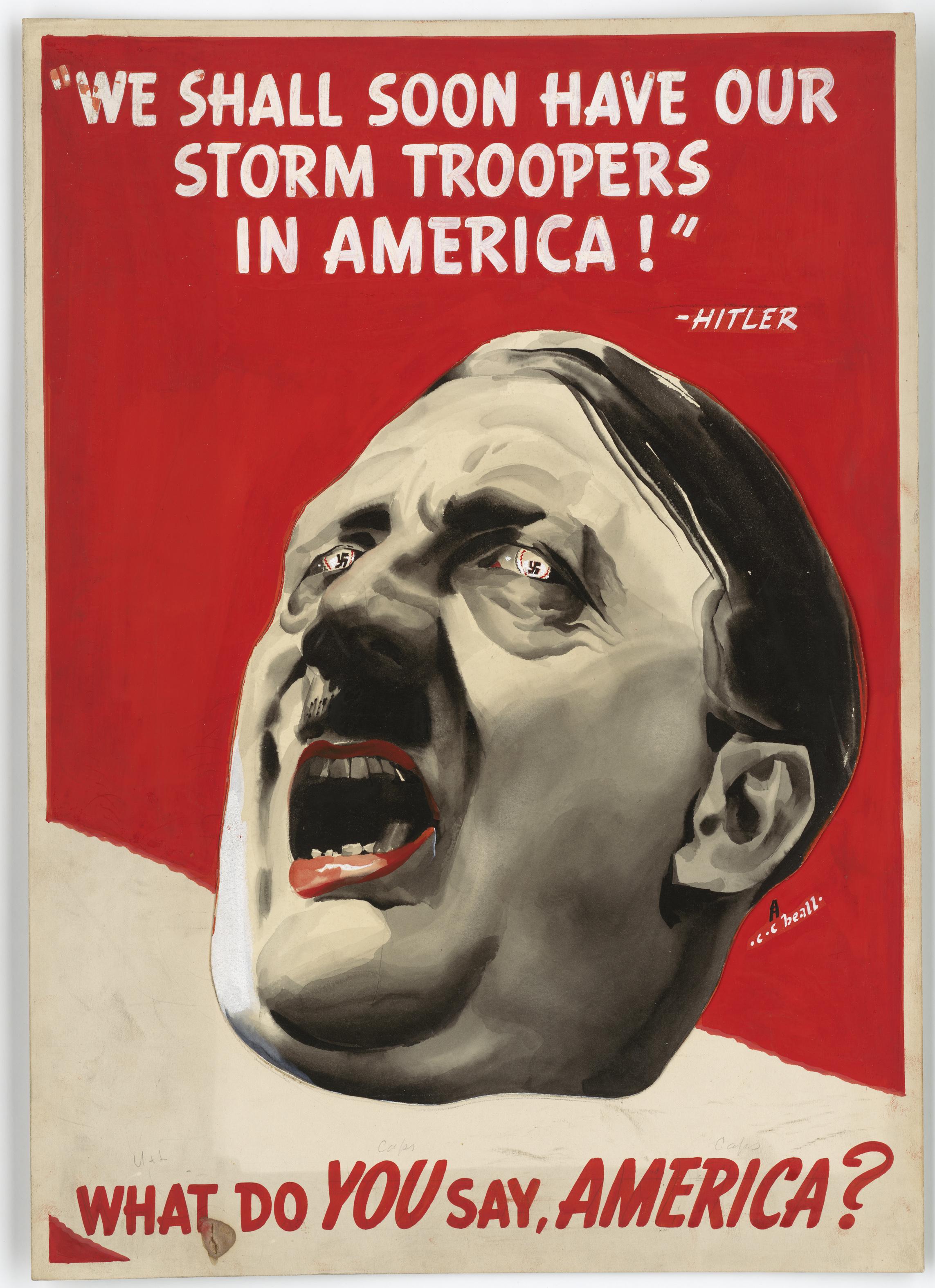 Chociaż podejrzewa się, że Hitler dysponował bronią atomową, pewne jest, że uranowy program III Rzeszy nie przyniósł takich efektów jak amerykański projekt Manhattan. Na ilustracji fragment antynazistowskiego plakatu z czasu wojny.