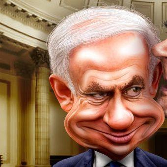 Binjamin Netanjahu na karykaturze politycznej (ryc. DonkeyHotey, lic. CC BY 2.0)