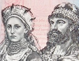 Dobrawa i Mieszko na banknocie okolicznościowym wyemitowanym w 2015 roku.