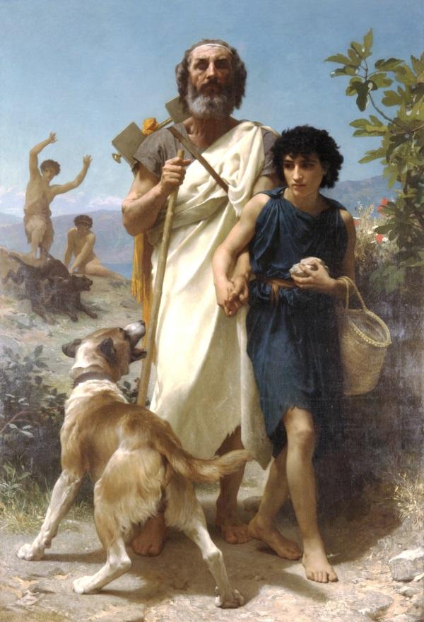 Homer i jego przewodnik (fot. domena publiczna)