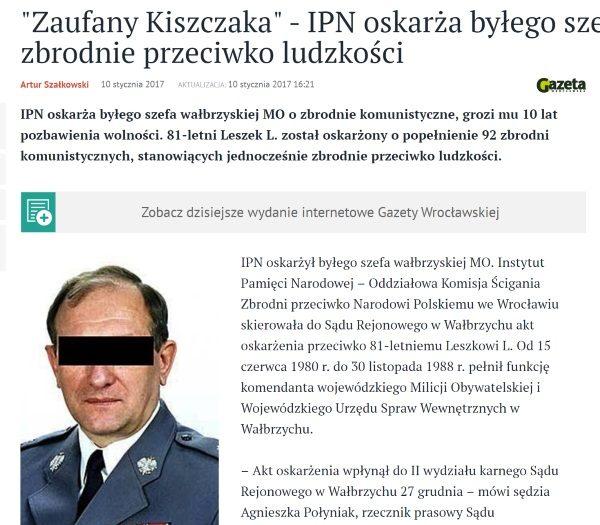 """Jeszcze dziś rano Leszek Lamparski był Leszkiem L., sąd go jednak uniewinnił (fot. screen z serwisu """"Gazety Wrocławskiej"""")"""