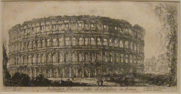 Koloseum w Rzymie na zabytkowym szkicu