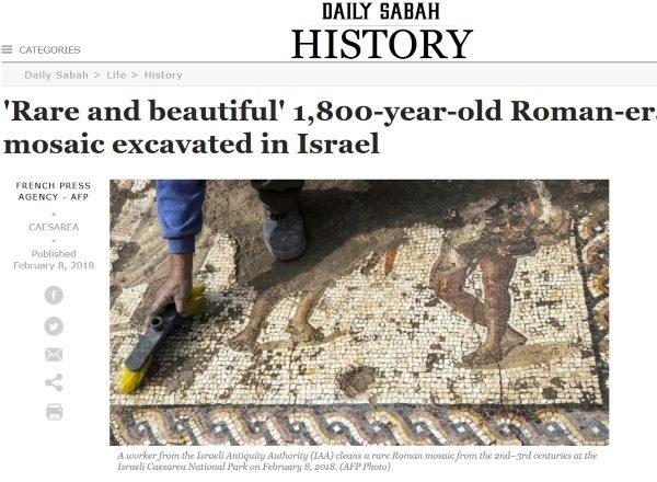 Oczyszczanie odnalezionej mozaiki (fot. screen z serwisu Daily Sabah)