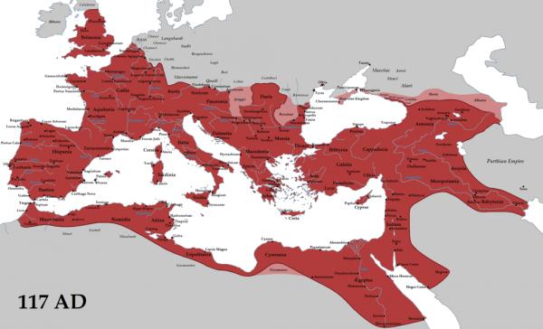 Cesarz Trajan prowadził wyraźnie ekspansywną politykę. Czyżby Sałapie marzył się dziś powrót do tamtych czasów? Na ilustracji zakres Imperium Rzymskiego za Trajana.