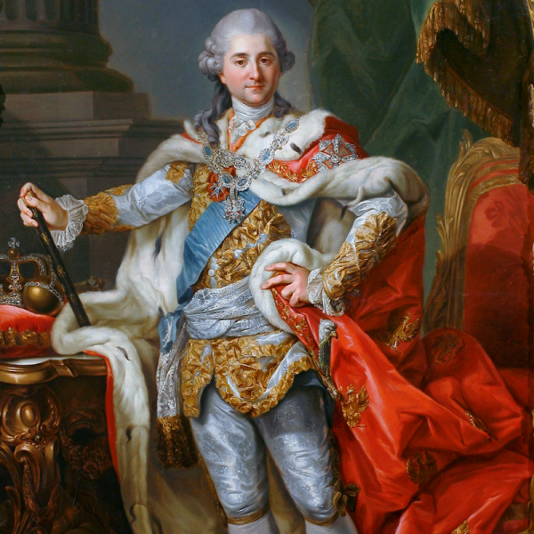 Portret Stanisława Augusta Poniatowskiego w stroju koronacyjnym, obraz Marcello Bacciarellego.