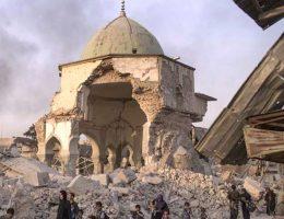 Zniszczenia doknane w Mosulu przez bojowników ISIS, meczet Al Nouri (fot. Tasnim News, lic. CC BY-SA 4.0)