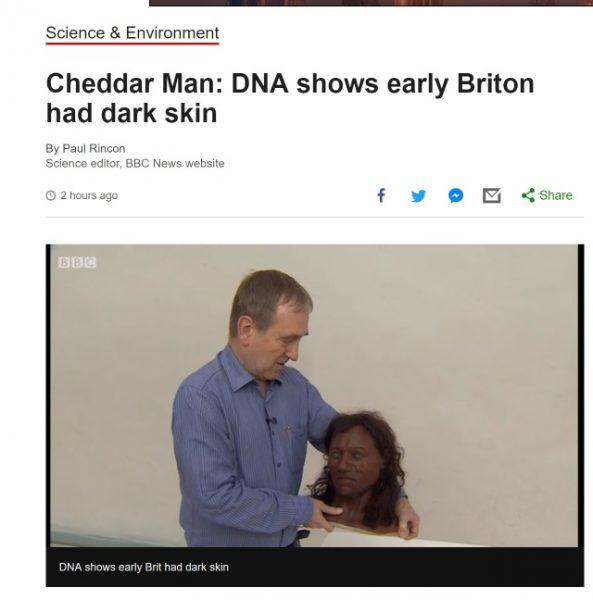 Zrekonstruowana głowa człowieka z Cheddar (fot. screen ze strony bbc.co.uk)