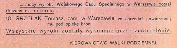 Kierownictwo Walki Podziemnej informowało ludność Warszawy o przeprowadzonych egzekucjach.