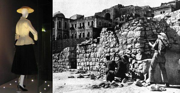 Na zdjęciu po lewej garnitur z kolekcji Diora z 1947 roku. Po prawej - legion arabski atakujący dzielnicę Żydowską na Starym Mieście Jerozolimy. To również w 1947 roku rozpoczął się trwający do dziś izraelsko-palestyński konflikt.