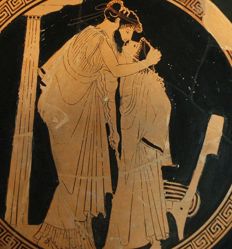 Pederastia była dla starożytnych czymś równym filozofii. Malunek na greckim kyliksie, przedstawiający miłośnika ze swoim oblubieńcem. Malarz Bryzeidy, ok. 480 rok p.n.e.
