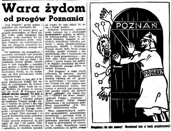 """Antysemicki artykuł z dziennika """"Pod Pręgierz"""", 1937 r. pt. """"Wara Żydom"""" (fot. domena publiczna)"""
