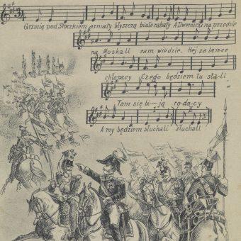 """Fragment broszury z pieśnią Wincentego Pola """"Grzmią pod Stoczkiem armaty"""" (wyd. S. Tomaszewski, 1910-1914)"""