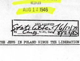 Fragment pierwszej strony odtajnionego dokumentu amerykańskiego Departamentu Stanu (fot. Centrum Szymona Wiesenthala)