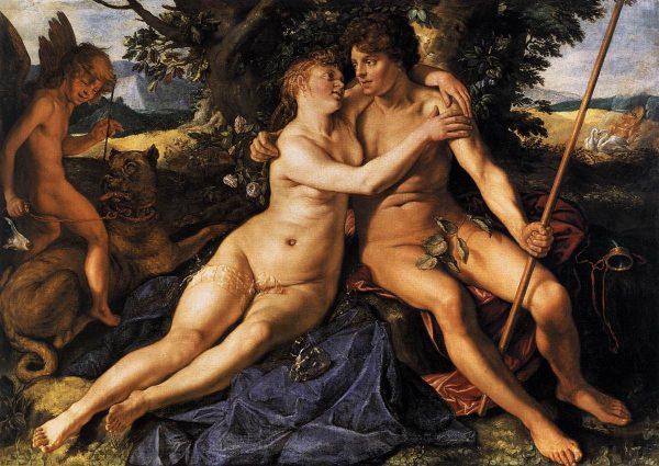 """Małżeństwa starożytnych nie były zawierane z miłości. Liczyły się dwie kwestie: finanse oraz przedłużenie rodu. Na ilustracji obraz Hendricka Goltziusa """"Wenus i Adonis""""."""