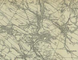 Husiatyn nad Zbruczem (reprodukcja z 1922 roku mapy austriackiej z 1916 roku). Mapa oznaczona według południka Ferro